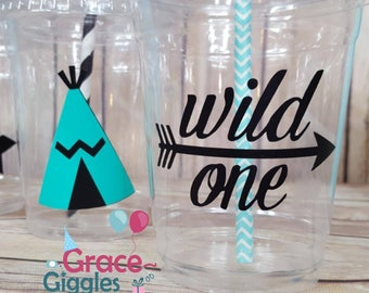 12 Wild One/ Tribal Party Cups with Straws and Lids!