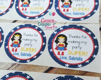 12 Personalized  Girl Superhero  Favor Stickers, Superhero Adhesive Party Tags