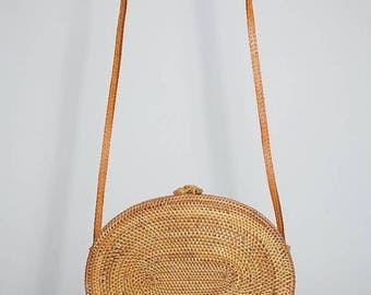 Round oval brown rattan Bali ata bag