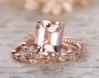 3pcs Morganite Engagement Rings Set,9x11 Emerald Cut Morganite Ring,2pcs Marquise Diamond Bands,Claw Prong,Solitaire Ring Set,Half Eternity