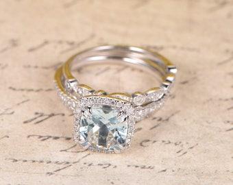 Aquamarine Engagement Ring Set 14k White Gold Diamond Band 8mm Cushion Aquamarine Ring Diamond HALO Ring Promise Ring Marquise Diamond Ring