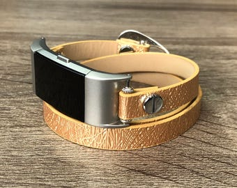 Luxury Gold Color Vegan Leather Bracelet for Fitbit Charge 2 Fitness Tracker Handmade Fashion Multi Wrap Adjustable Fitbit Charge 2 Band