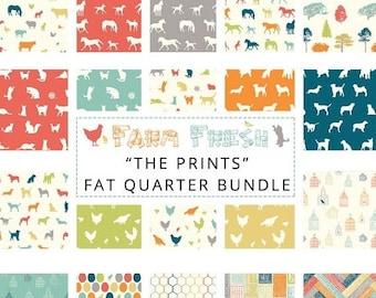 "ON SALE FARM Fresh by Jay-Cyn Desighs for Birch Organic Fabrics -  ""The Prints"" Fat Quarter Bundle - Organic cotton - 20  Prints"