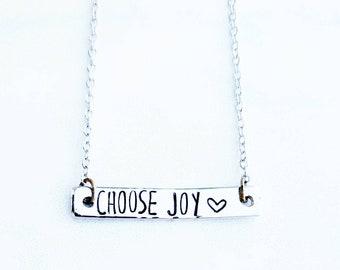 Choose Joy Necklace - Silver Stamped Bar Necklace - Inspirational Necklace - Custom Made Jewelry - Personalized Christmas Gift for Her