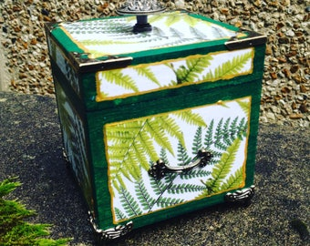 Box, wooden box on stand for your jewelry, treasuries nature decor, fern