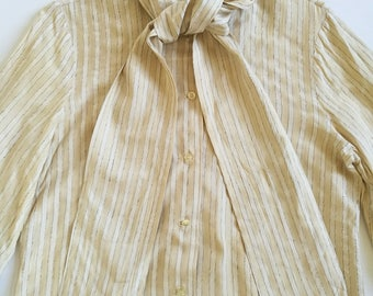 """Vintage 1960s """"Samuel Robert by Peter Hasti Androu"""" ivory white striped blouse"""