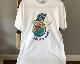 Ice Skaters Vintage T shirt, 90's Olympic Team T shirt, Ex Cond. Size L White Tee, Kristi Yamaguchi Tee, USA Sports Vintage T shirt, skating
