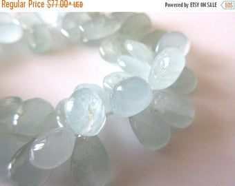ON SALE 50% Natural Aquamarine Smooth Pear Briolette Beads, 8 Inches Of 13mm To 14mm Aquamarine Beads, GDS770