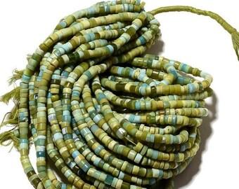 ON SALE 50% 10 Strands Wholesale Green Opal, Green Opal Tyre Beads, Opal Heishi Beads, 6.5mm Beads, 14 Inches Each, SKU-A110