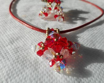Set of exquisite red, Crystal, gold