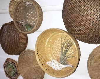 Woven Wall Baskets • Beach House Decor • Bohemian Decor • Set of 8