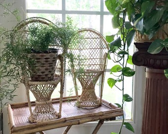 Set of 2 Woven peacock chairs • Plant Stands • Boho  Decor