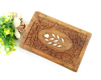 Vintage Hand-carved Oranate Wooden Box - Handmade Wood Jewelry Box - Wooden Casket - Floral Ornate Wooden Trinket Box