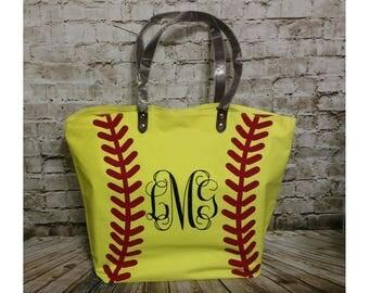 Softball Tote, Softball Tote bag, Personalized Softball Tote, Monogrammed bag, Monogrammed, Softball Bag, Softball Bag, Softball mom