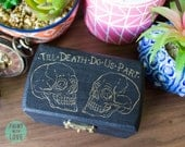 Till Death Do Us Part Skull  Vintage Tattoo Flash Wedding Engagement Proposal Ring Jewelry Box Hand Painted Goth Punk FREE Shipping