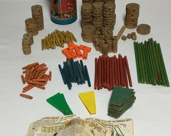 Vintage Tinker Toys Wood Lot Play Set Over 230 Pieces Tinker Toys No 65126, Made In USA