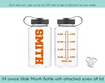 Sports Bottle - 34 oz - Personalized Water Bottle - Water Tracker - Water Bottle