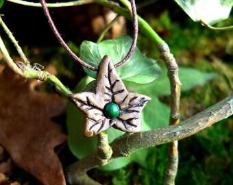 "Chrysocolla on leaf charm ""Sheet of summer"""