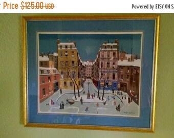 Back2School Michel Delacroix La Place Furstenberg, Paris 1975 Winter Snow Scene Lithograph Print Number 37 France French Artist Painting