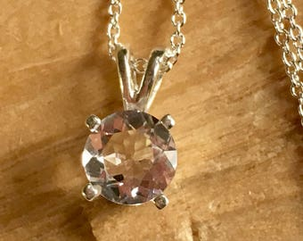 6mm Herkimer Diamond- Faceted A Grade NY Herkimer Diamond -Quartz Crystal - Faceted Herkimer Diamond Pendant - Faceted Herkimer - sterling