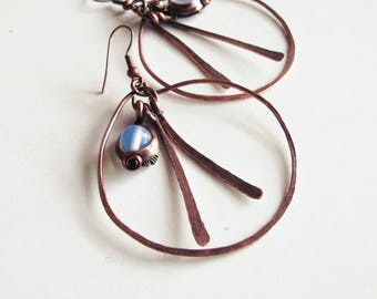 Ethnic copper patina - opaline - hammered-