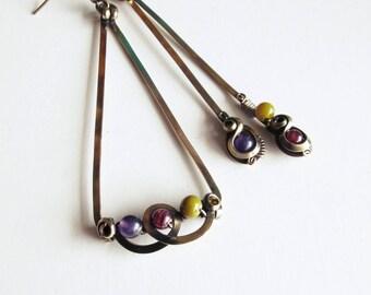 Ethnic asymmetrical earrings - purple - triangle / khaki - brass