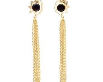 CHRISTMAS IN JULY Sale21% Long Black Glass Statement Earrings with Gold Chains/Black Earrings/Dangling Earrings/Gold Hammered Earrings - De2