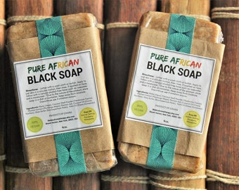 Two (2) African Black Soap, Black African Soap, African Soap, Black Soap, Soft Black Soap, Raw Black Soap, Natural Soap, Body Wash , 4oz