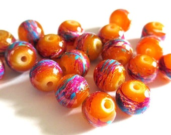 10 caramel beads, multicolor painted glass 8mm (B-22)