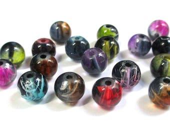 18 black drawbench beads translucent mix of 10 mm