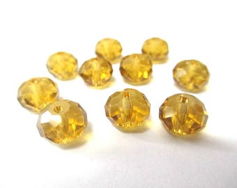 10 light brown beads rondelle faceted glass 6x8mm