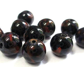 10 black speckled orange and purple glass beads 10mm (S-48)