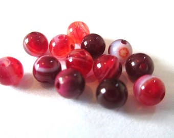 vibrant red 4mm 20 striped agate beads