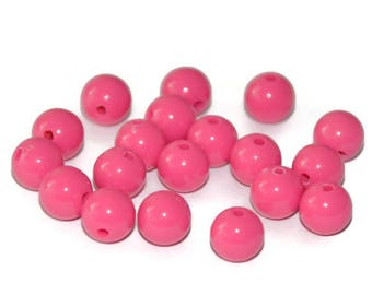 10 pearls 8mm purple fuschia acrylic