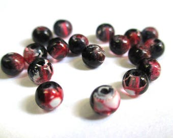 20 black, red translucent 4mm beads