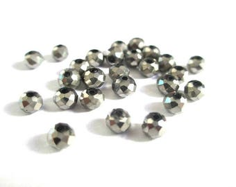 20 silver 4x3mm rondelle faceted Crystal beads
