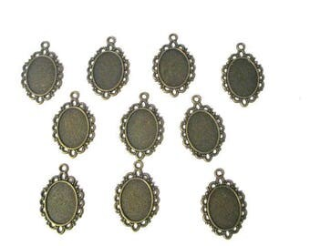 10 support 31x20mm bronze oval cabochon pendants