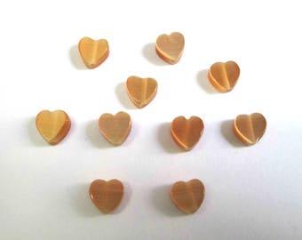 10 Brown 6mm heart shaped cat eye beads