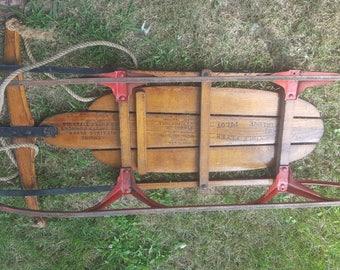 "Vintage 1950s Flexible Flyer Wooden Sled 41"" w/ Super Steering S.L. Allen & Co., Metal Runners, Antique Sled Toboggan Foot Steer, Winter"