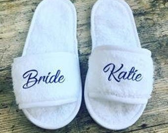 Personalised wedding slipper- bride slippers- bridesmaid slippers- slippers with name in