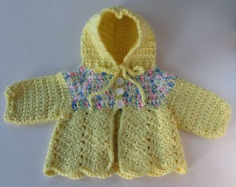 Crocheted Baby Sweater, Yellow Baby Sweater, Baby Shower Gift, Hooded Baby Cardigan, Baby Girl Sweater, 8-inch Chest, Newborn Sweater
