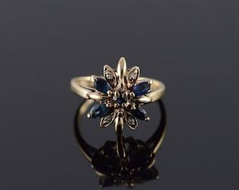 14k 0.80 CTW Sapphire Diamond Starburst Ring Gold