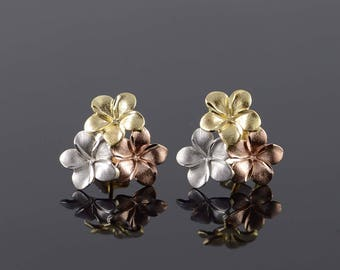 14k Tri Color 3 Flower Rose Silver Stud Earrings Gold