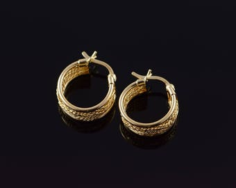 14k 16mm Hollow Filigree Rope Circle Hoop Earrings Gold