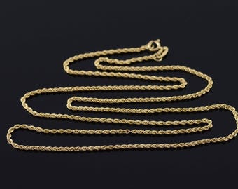 """14k 1.4mm Twist Rope Chain Necklace Gold 20.25"""""""