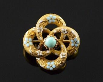 14k Victorian Pinwheel Blue White Enamel Turquoise Pin/Brooch Gold