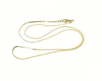 "10k 1.0mm Serpentine Pressed Link Chain Necklace Gold 15"""