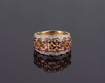 14k 0.64 Ctw Diamond Ruby Scalloped Cluster Ring Gold