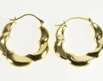 14k Scalloped Twisted Curved Puffy Hoop Earrings Gold
