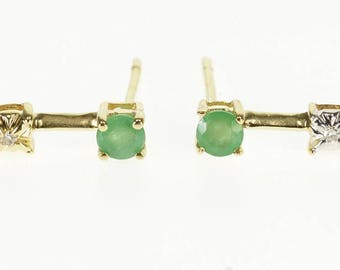 10k Emerald Diamond Inset Bar Post Back Earrings Gold